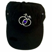 Ball Cap with Embroidered Double Male Symbol and Heart  Black or Tan
