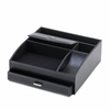 Black Faux Leather Desk Organizer