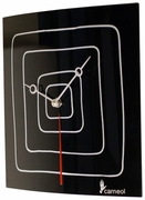 "Black Glass Art Clock with White Lines 9.5""sq"