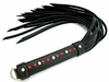 Black Leather Strap Whip with Red Hearts Inlay in Handle 20""