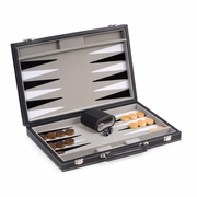 Backgammon Set  Black Leatherette 15""