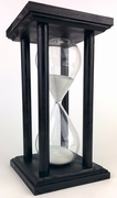 Black Oak Square Hourglass with White Sand