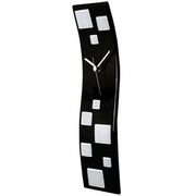 Black Wave Glass Art Clock with White Squares