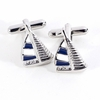 Blue and White Sail Boat Design Rhodium Plated Cufflinks