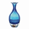 "Blue Art Glass Bottleneck Vase  13""h"