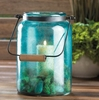 "Blue Jar Candle Lantern  15""h with handle"