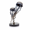 Brass Jellyfish Pair on  Marble Base