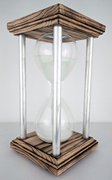 Burned Oak Square Hourglass with Aluminum Spindles