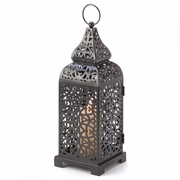"Candle Lantern Moroccan Tower  13""h"