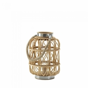 "Candle Lantern Woven Rattan Small  10.8""h"