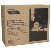 Cascades North River Beverage Napkins, 1 Ply, 4 1/4 x 4 1/4, White, 1000/Pk, 4000/Case  FREE SHIPPING