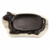 Cast-Iron Sizzling Platter with Wooden Tray
