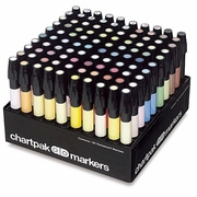 Chartpak AD Marker Set 100pc Assorted with Caddy