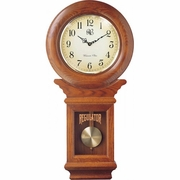 Chiming American Regulator Wall Clock with Swinging Pendulum  Oak Finish