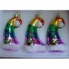 Christmas Pride Rainbow Santa's Cap Ornaments  3pc