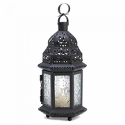 "Clear Glass Moroccan Lantern  10.25""h"
