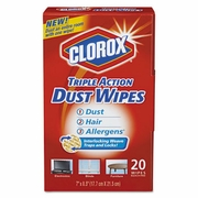 Clorox Triple Action Dust Wipes, White, 8 1/2 x 7, 20 wipes/Box 10bx/case
