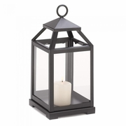 "Contemporary Pillar Candle Lantern Matte-Black Finish  12""h"