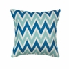 "Cool Waves Chevron Throw Pillow 17""sq."