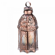"Copper Moroccan Candle Lamp  9.5""h"
