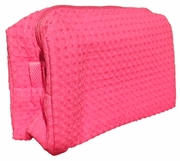 Cotton Waffle Cosmetic Bag, Large, Fuchsia