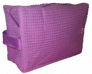 Cotton Waffle Cosmetic Bag Large Plum