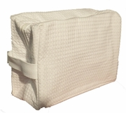Cotton Waffle Cosmetic Bag, Large, White