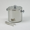 "Covered Ice Bucket with Tongs  Stainless Steel  6.5""h"