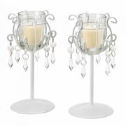 "Crystal Drop Votive Stands (pair)  7.5""h"