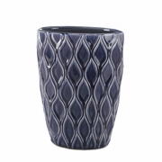 "Deep Blue Wide Stoneware Vase  9.25""h"