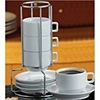 Demi / Espresso Stackable Cup and Saucer Sets with Stand