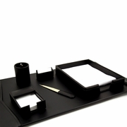 Desk Set Black Leather 6pc
