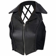 Diamond Plate™ Ladies  Solid Genuine Leather Vest With Cross Hatch Back