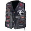 Diamond Plate   Pebble Grain  Buffalo Leather Biker Vest with 23 Patches