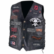 Diamond Plate™  Pebble Grain  Buffalo Leather Biker Vest with 23 Patches