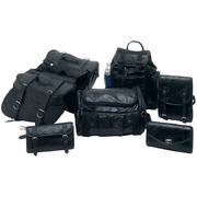 Diamond Plate  Rock Design Buffalo Leather 7pc Motorcycle Luggage Set FREE SHIPPING