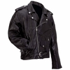 Diamond Plate™ Rock Design Buffalo Leather Motorcycle Jacket