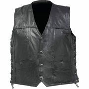 Diamond Plate  Rock Design Genuine Buffalo Leather Concealed Carry Vest