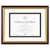 Document Certificate Frame with Mat, Laminated Wood Mahogany/Gold Leaf Edge , 11x14