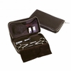 Dovo 5pc Beard Set,  Water Buffalo Brown Leather Zippered Case