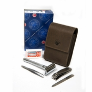 Dovo Razor Set with Mekur-23001 Razor, Khaki Brown Case