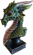 Dragon Head Figurine Green  6 1/2""