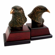 Eagle Head Bronze Bookends on Burlwood Base