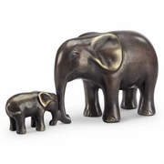 Elephant and Calf Affectionate Moment Figurines