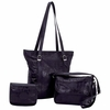 Embassy Black Leather 3pc Purse Set with Crocodile Embossing