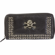 Embassy  Italian Stone  Design Genuine Lambskin Leather Wallet Skull & Crossbones
