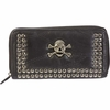 Embassy™ Italian Stone™ Design Genuine Lambskin Leather Wallet Skull & Crossbones