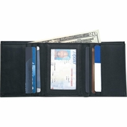 Embassy™ Mens   Solid  Leather Tri-Fold Wallet