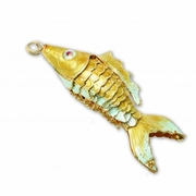 Enameled  Prosperity Fish  Medium 3-1/4  YELLOW