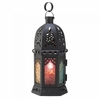 """Enchanted Rainbow Moroccan Style Candle Holder Lantern  10-1/2""""h"""